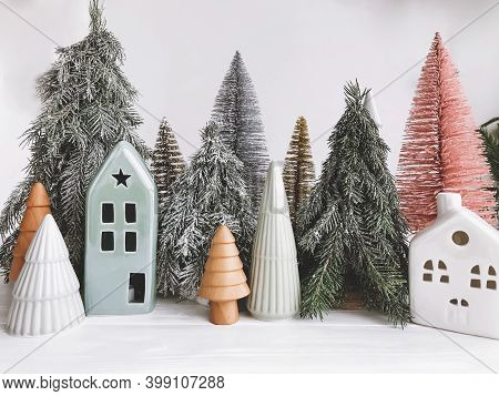 Christmas Scene, Trees And Houses On White Rustic Background.  Happy Holidays And Merry Christmas! M
