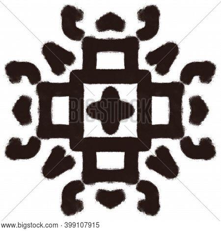 Black Charcoal Drawn Folk Tribal Print Illustration. Abstract Kaleidoscope Pattern Element For Surfa