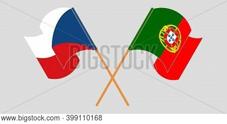 Crossed And Waving Flags Of Czech Republic And Portugal. Vector Illustration