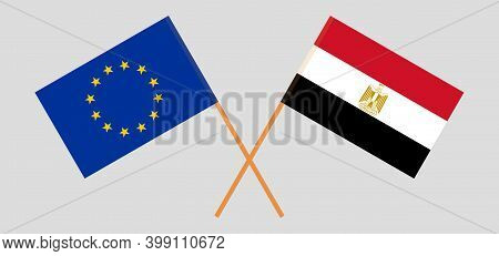 Crossed Flags Of Egypt And The Eu. Official Colors. Correct Proportion. Vector Illustration