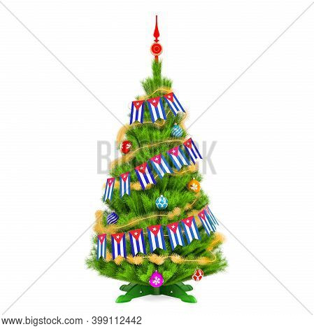 Christmas Tree With Cuban Xmas Pennant Flags, 3d Rendering Isolated On White Background