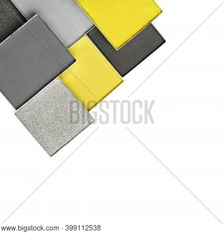 Palette Of Eye Makeup Of Main Colour Of The Year. Close Up Of Trendy Toned Yellow And Grey Eyeshadow
