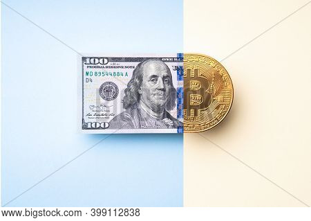 Bitcoin Exchange Concept. Business, Investing And Trade Idea. Top View, Flat Lay. Cryptocurrency And