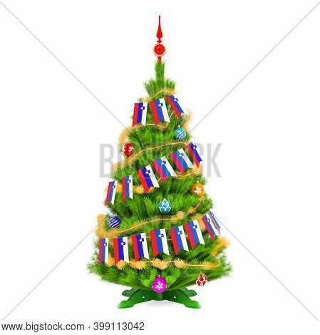 Christmas Tree With Slovenian Xmas Pennant Flags, 3d Rendering Isolated On White Background