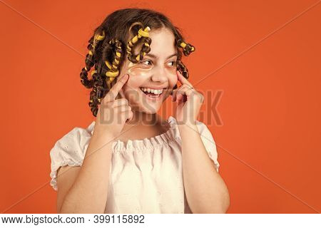 Easy Tips Making Hairstyle For Kids. Hairdressing Tools And Hair Accessories. Kid With Patches On Fa