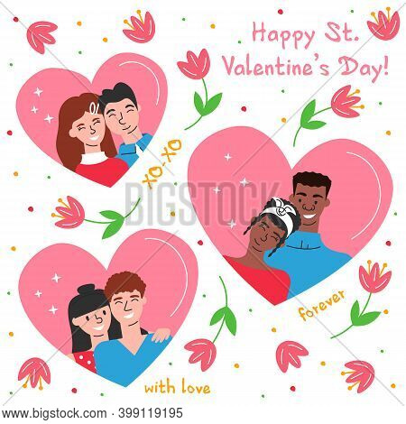 Vector Illustration Of Couples For Valentines Day Isolated. Love Composition In Modern Flat Linear S