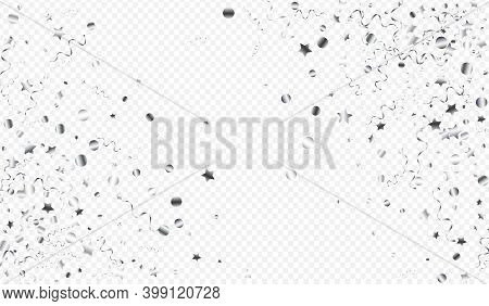 Silver Star Carnival Vector Transparent Background. Celebration Confetti Poster. Streamer Celebrate