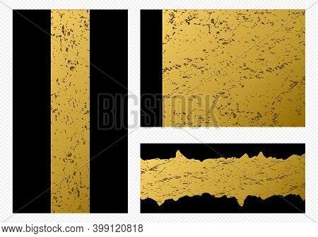 Golden Shape Glamour Flyer. Luxury Modern Brochure. Geometric Gilding Design. Graphic Label.
