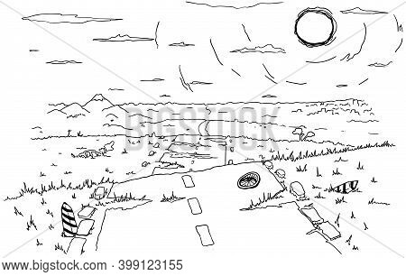 Old Road Landscape Far View Cartoon Line Drawing, Vector, Horizontal, Black And White