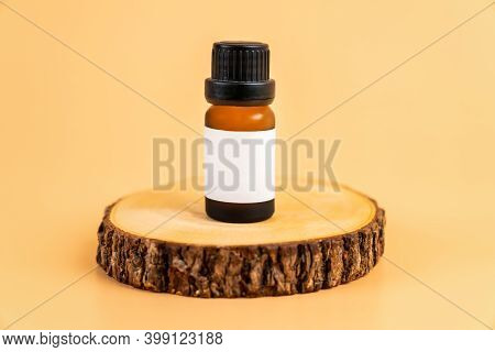 Medicine Bottle Placed, Blank Label Package For Mockup On The Orange Background. The Concept Of Natu