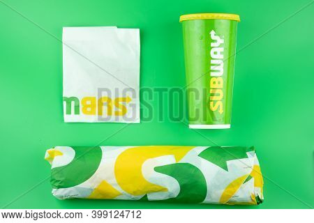 Bangkok, Thailand - December 12, 2020 : Sandwich Set With Softdrink Of Subway On Green Background. S