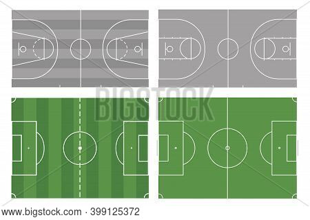 Football And Basketball Field On An Isolated White Background. A Set Of Fields For The Game. For Web