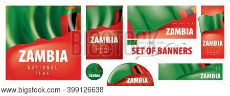 Vector Set Of Banners With The National Flag Of The Zambia