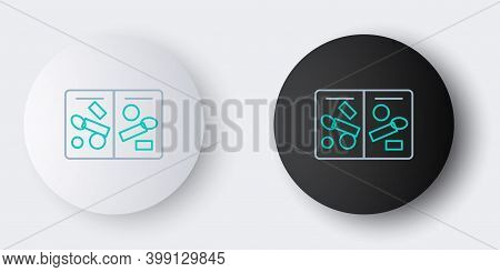 Line Passport Pages With Visa Stamps Icon Isolated On Grey Background. Opened Foreign Passport With
