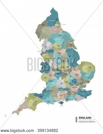 England Higt Detailed Map With Subdivisions. Administrative Map Of England With Districts And Cities