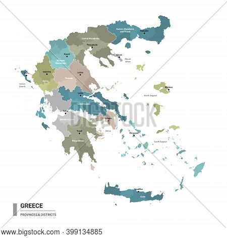 Greece Higt Detailed Map With Subdivisions. Administrative Map Of Greece With Districts And Cities N