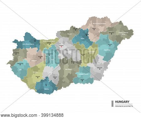 Hungary Higt Detailed Map With Subdivisions. Administrative Map Of Hungary With Districts And Cities