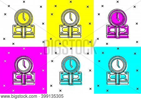 Set Time Is Money Icon Isolated On Color Background. Money Is Time. Effective Time Management. Conve