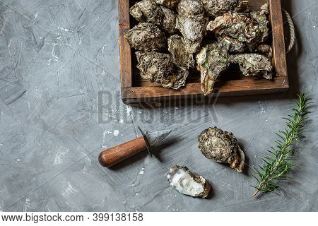 Oysters In The Wooden Tray