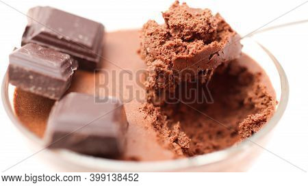 Chocolate Mousse In A Bowl Isolated On A White Background
