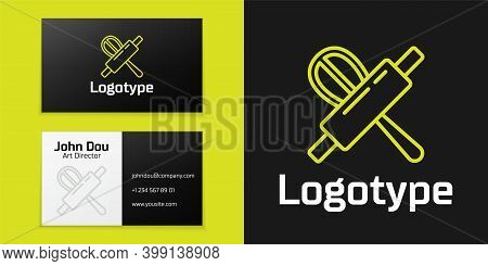 Logotype Line Kitchen Whisk And Rolling Pin Icon Isolated On Black Background. Cooking Utensil, Egg