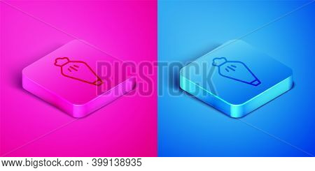 Isometric Line Pastry Bag For Decorate Cakes With Cream Icon Isolated On Pink And Blue Background. K