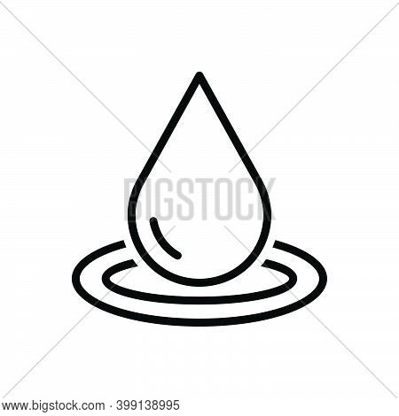 Black Line Icon For Drop Pure Ripple Splash Aqua Oil Droplet Water Drinkable Fresh Beverage Nature