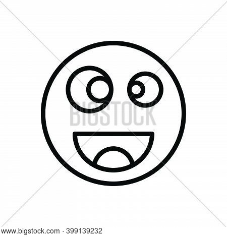 Black Line Icon For Funny Amusing Risible Comic Mirthful Queer Crazy Wacky Emoji Goofy Caricature Ch