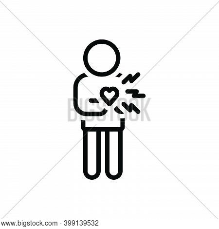 Black Line Icon For Suddenly Chest-pain Heart-attack Cardiac Heart Disease Abruptly Sudden Incident