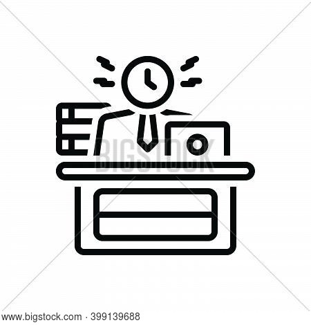 Black Line Icon For Busy Engaged Dissipated Working Active Laboring Diligent Employed At-work Busine