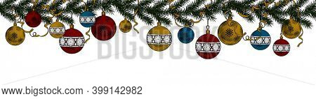 Christmas Background and New year decoration. Vintage engraving stylized drawing.