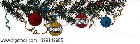 Christmas Background with Christmas tree with ribbons. New year decoration. Vintage engraving stylized drawing.
