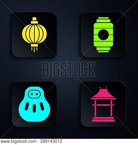 Set Japan Gate, Japanese Paper Lantern, Maneki Neko Cat And Japanese Paper Lantern. Black Square But
