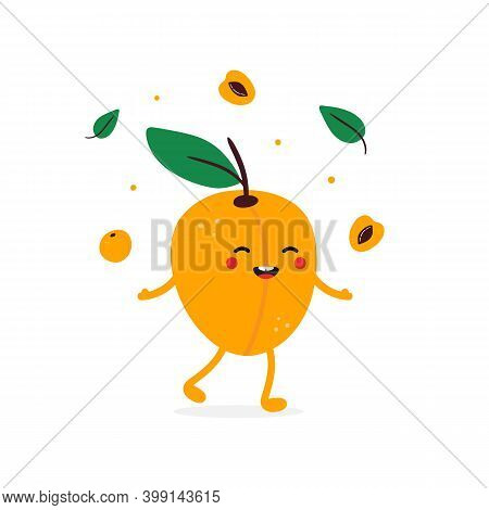 Cute Happy And Smiling Cartoon Style Apricot Character Throwing Confetti, Apricots And Leaves In The