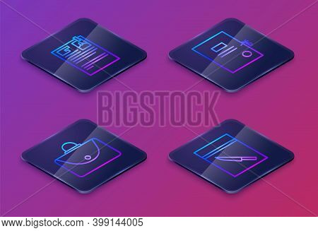 Set Isometric Line Lawsuit Paper, Briefcase, Lawsuit Paper And Evidence Bag And Knife. Blue Square B