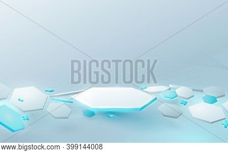 3d White And Blue Hexagons Podium Display With Technology Futuristic Medical Healthcare And Science