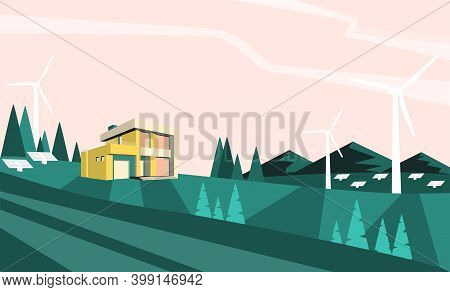 Green Energy Renewable Eco House. Solar, Wind Power. Alternative Power Eco Friendly.vector Illustrat