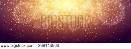 Fireworks At New Year And Copy Space. Abstract Background Of Sparkling Fireworks. Christmas And New