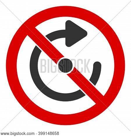 No Rotate Icon. Illustration Style Is A Flat Iconic Symbol Inside Red Crossed Circle On A White Back