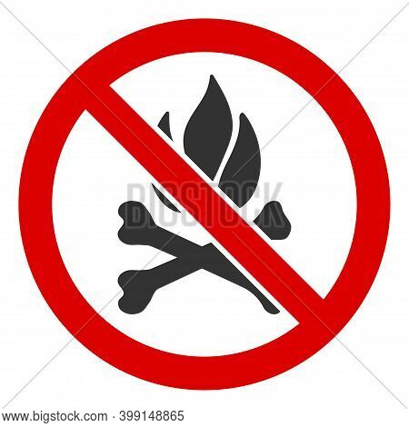 No Death Fire Icon. Illustration Style Is A Flat Iconic Symbol Inside Red Crossed Circle On A White