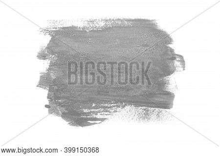 Trendy Color Of The Year 2021 Ultimate Gray. Sample Of Ultimate Gray Paint On White Isolated Backgro