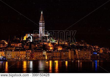 A Beautiful Nightscape Of Rovinj Croatia St. Eufemia Church
