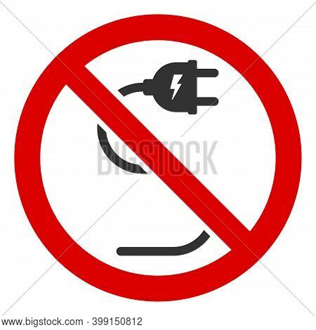 No Electrical Cord Icon. Illustration Style Is A Flat Iconic Symbol Inside Red Crossed Circle On A W