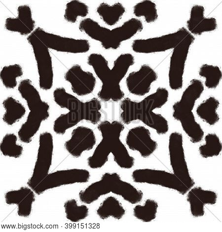 Black Charcoal Drawn Folk Tribal Print. Abstract Kaleidoscope Pattern Element For Surface And Textil