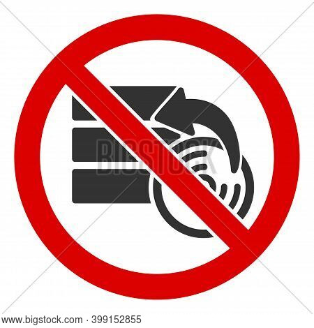 No Data Recovery Icon. Illustration Style Is A Flat Iconic Symbol Inside Red Crossed Circle On A Whi