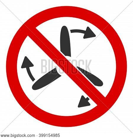 No Turbine Rotation Icon. Illustration Style Is A Flat Iconic Symbol Inside Red Crossed Circle On A