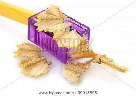 Sharpening pencil and wood shavings