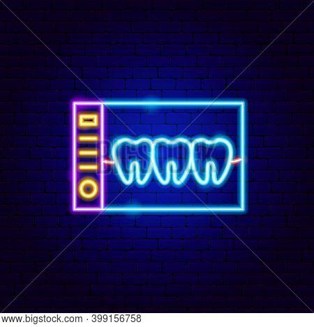 Dental X-ray Neon Sign. Vector Illustration Of Stomatology Promotion.