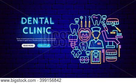 Dental Clinic Neon Banner Design. Vector Illustration Of Stomatology Promotion.