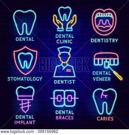 Dental Label Set. Vector Illustration Of Stomatology Promotion.